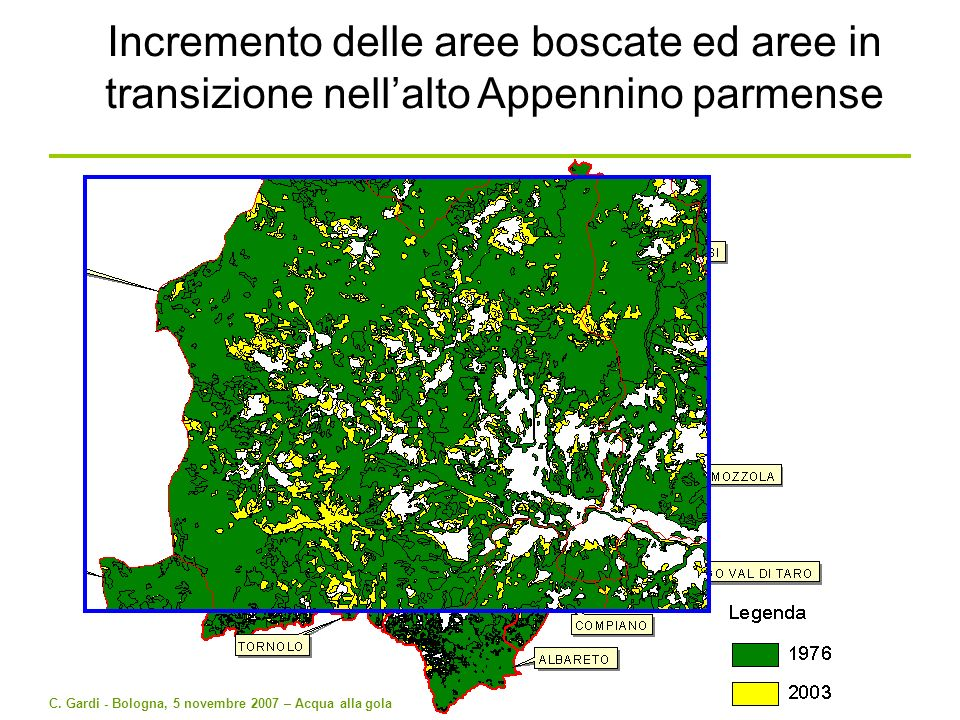 Incremento delle aree boscate ed aree in transizione nell'alto Appennino parmense