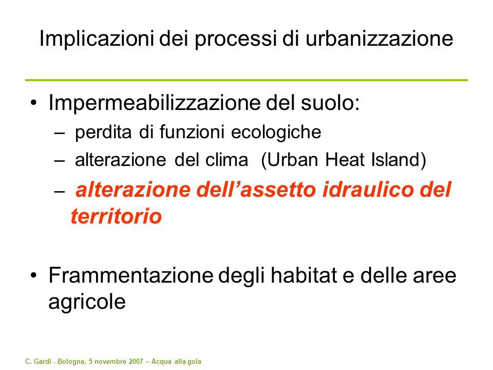 Implicazioni dei processi di urbanizzazione
