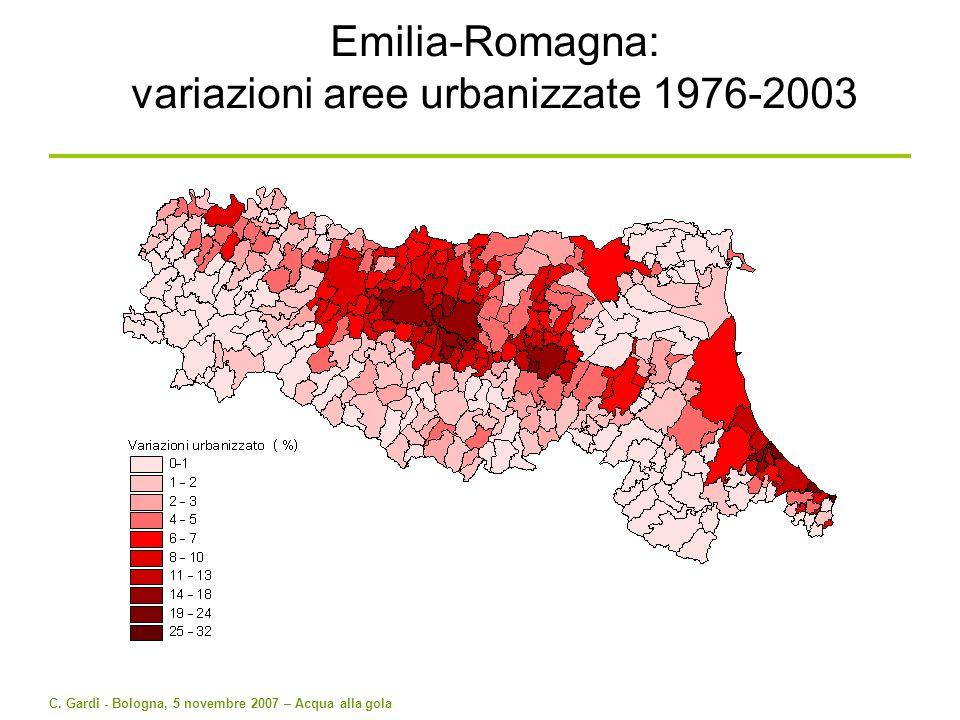 Emilia-Romagna: variazioni aree urbanizzate 1976-2003