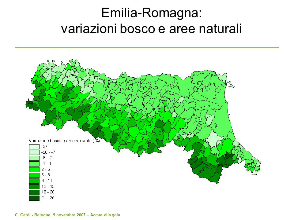 Emilia-Romagna: variazioni bosco e aree naturali