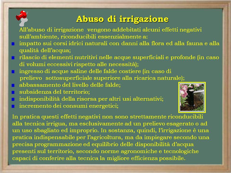 Abuso di irrigazione All'abuso di irrigazione vengono addebitati alcuni effetti negativi sull'ambiente, riconducibili essenzialmente a: