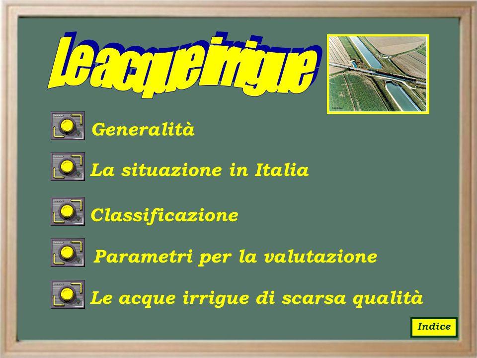 Le acque irrigue Generalità La situazione in Italia Classificazione