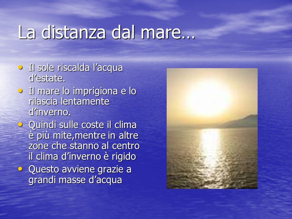 La distanza dal mare… Il sole riscalda l'acqua d'estate.