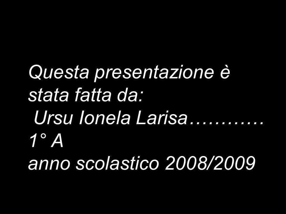 Questa presentazione è stata fatta da: Ursu Ionela Larisa………… 1° A anno scolastico 2008/2009