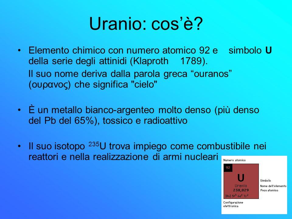 Uranio: cos'è Elemento chimico con numero atomico 92 e simbolo U della serie degli attinidi (Klaproth 1789).