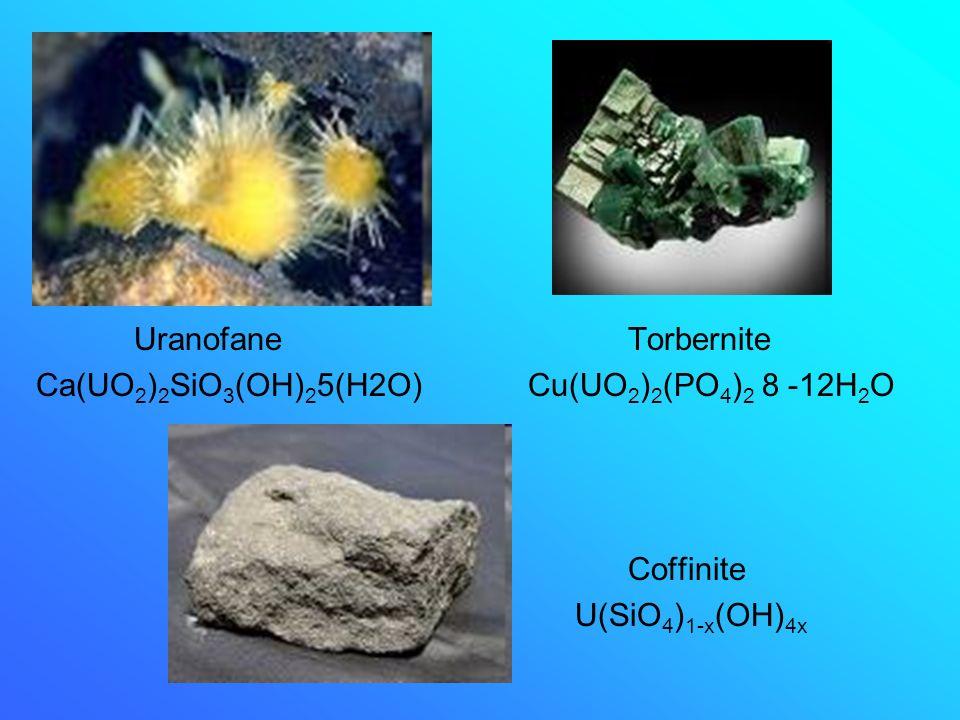 Uranofane Torbernite Ca(UO2)2SiO3(OH)25(H2O) Cu(UO2)2(PO4)2 8 -12H2O.