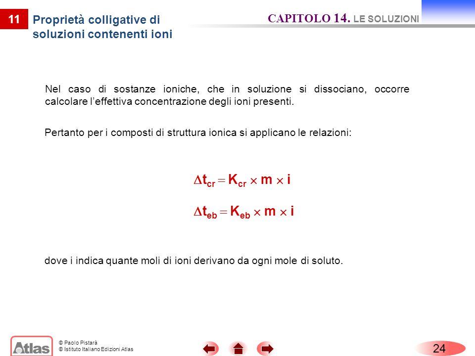 Proprietà colligative di soluzioni contenenti ioni