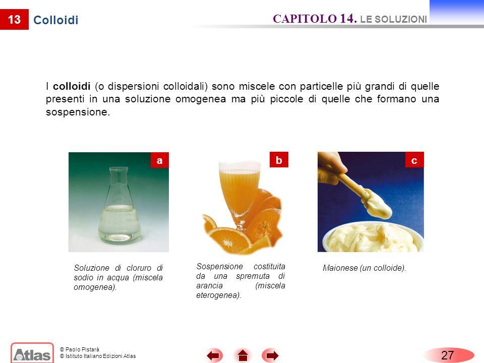CAPITOLO 14. LE SOLUZIONI 13 Colloidi 27