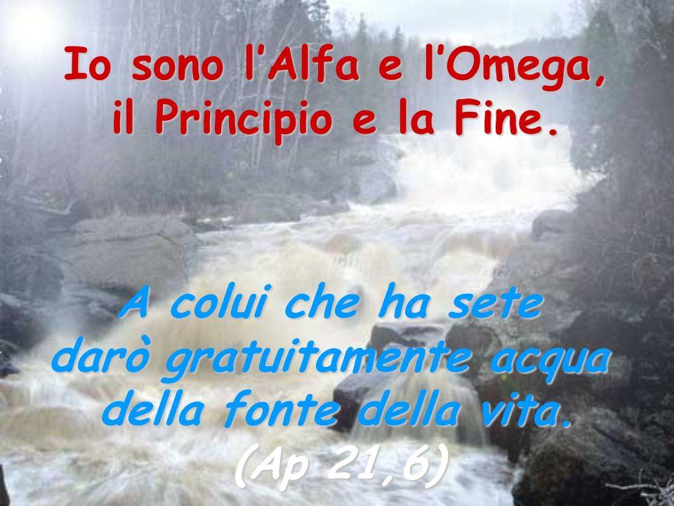Io sono l'Alfa e l'Omega, darò gratuitamente acqua