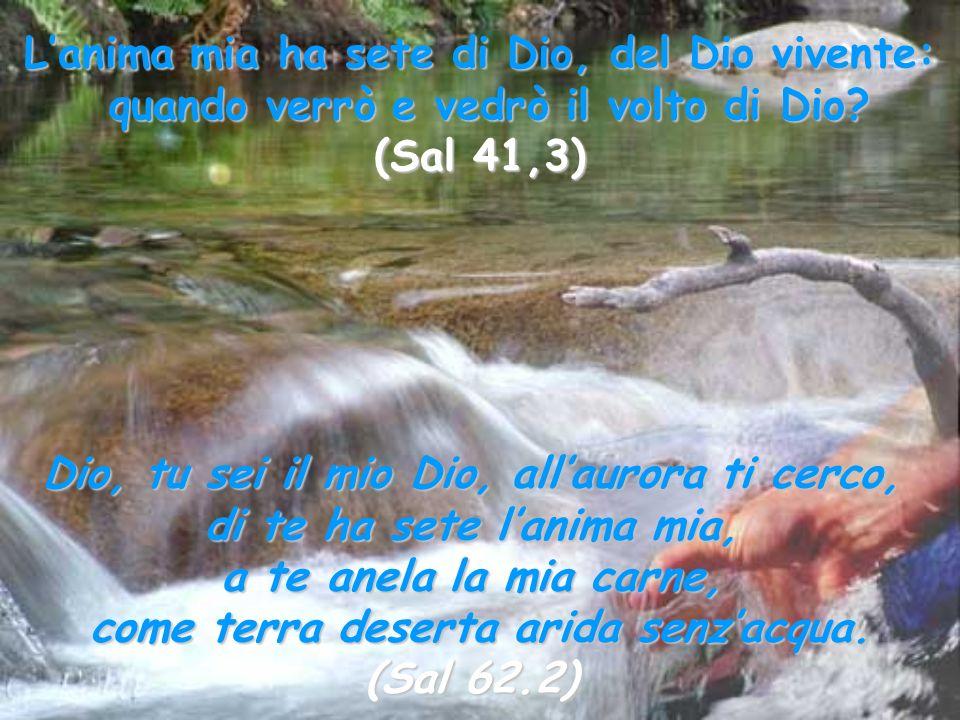 L'anima mia ha sete di Dio, del Dio vivente: