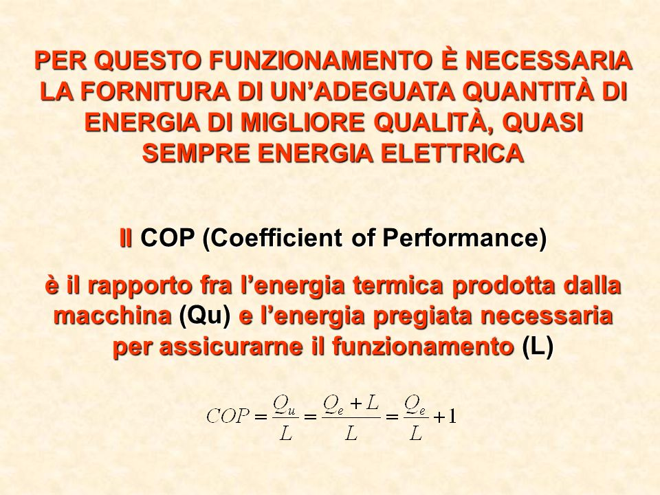 Il COP (Coefficient of Performance)