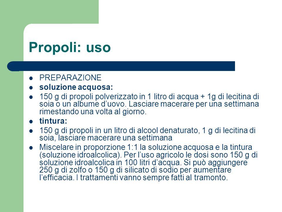 Propoli: uso PREPARAZIONE soluzione acquosa: