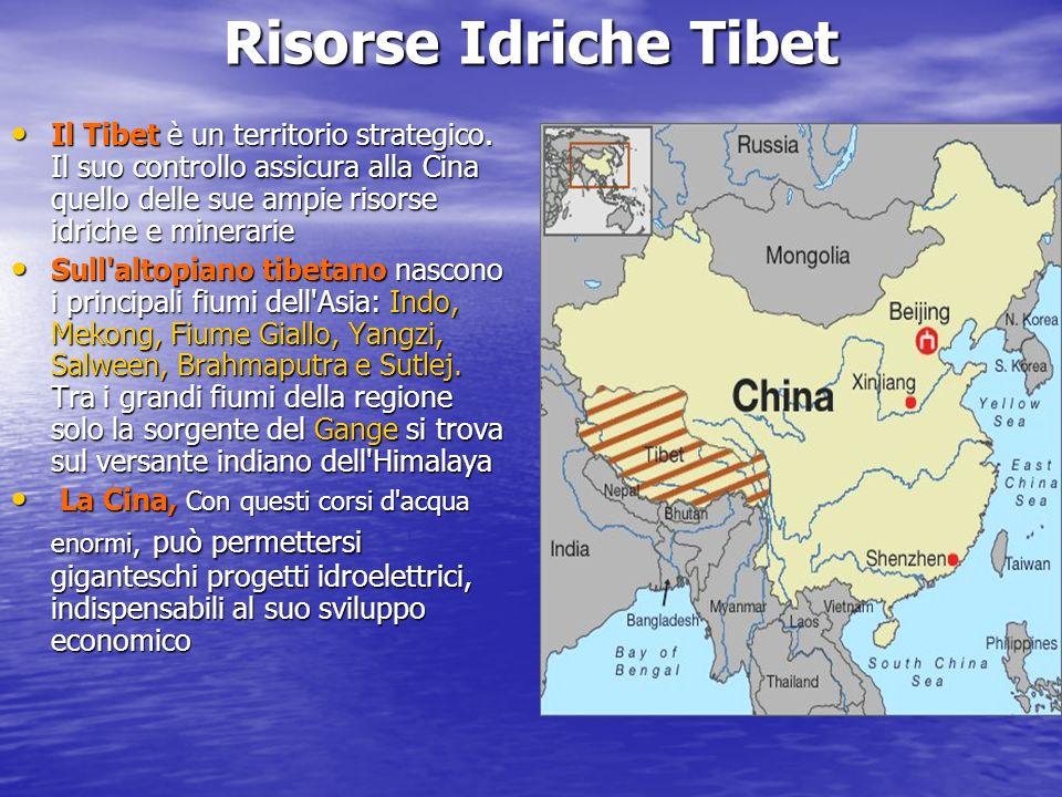 Risorse Idriche Tibet Il Tibet è un territorio strategico. Il suo controllo assicura alla Cina quello delle sue ampie risorse idriche e minerarie.