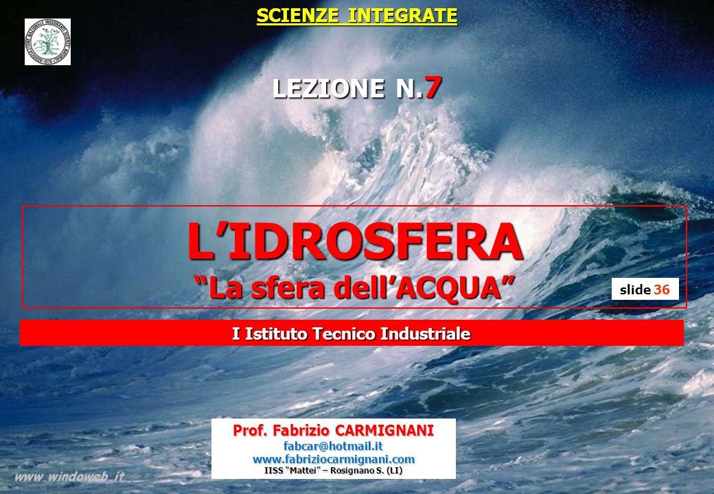 L'IDROSFERA La sfera dell'ACQUA LEZIONE N.7 SCIENZE INTEGRATE