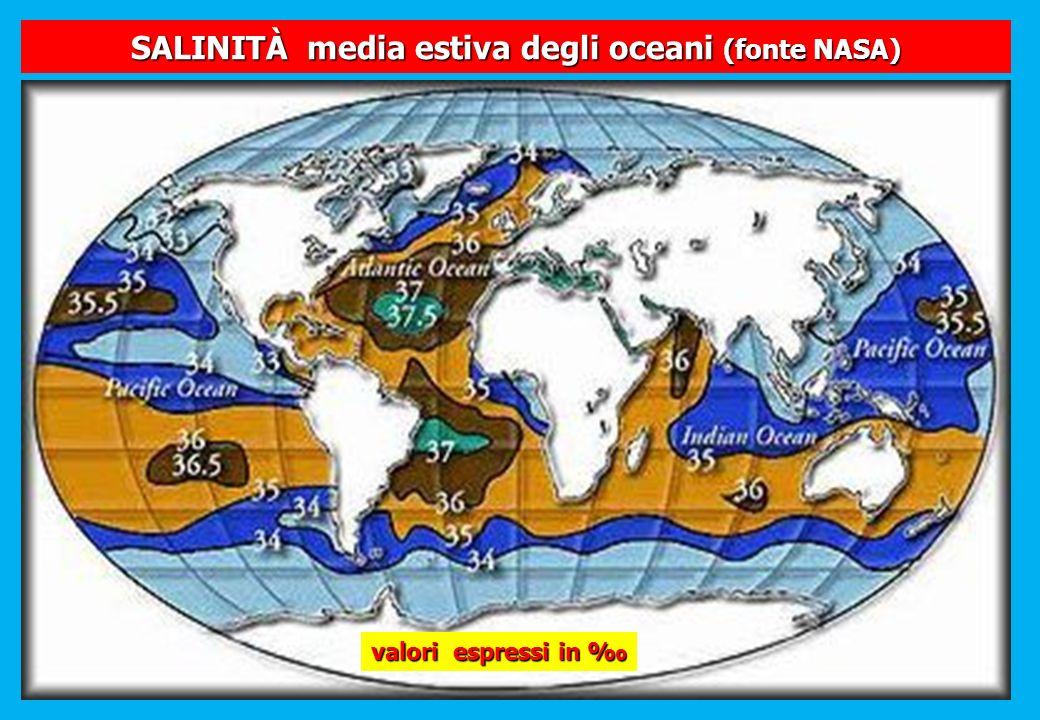SALINITÀ media estiva degli oceani (fonte NASA)