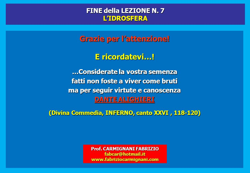 FINE della LEZIONE N. 7 L'IDROSFERA