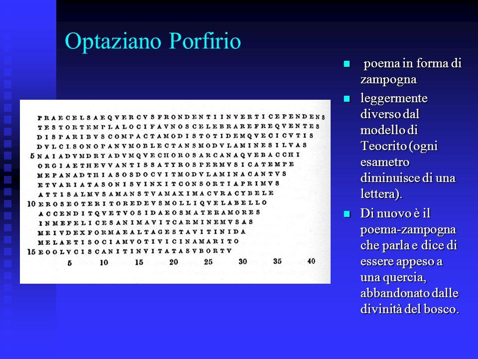 Optaziano Porfirio poema in forma di zampogna