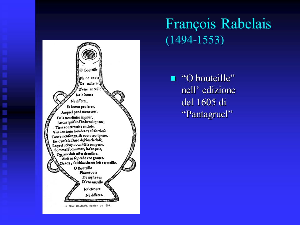 François Rabelais (1494-1553) O bouteille nell' edizione del 1605 di Pantagruel