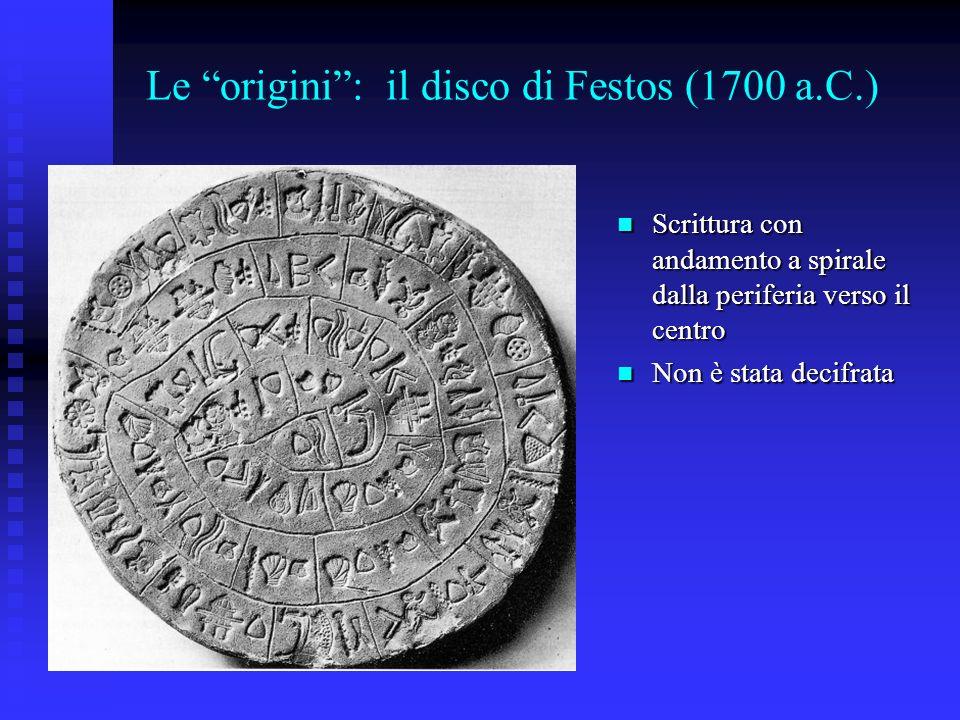 Le origini : il disco di Festos (1700 a.C.)