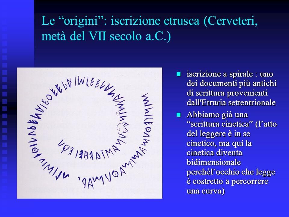 Le origini : iscrizione etrusca (Cerveteri, metà del VII secolo a.C.)