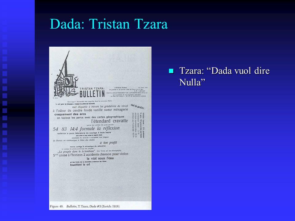 Dada: Tristan Tzara Tzara: Dada vuol dire Nulla