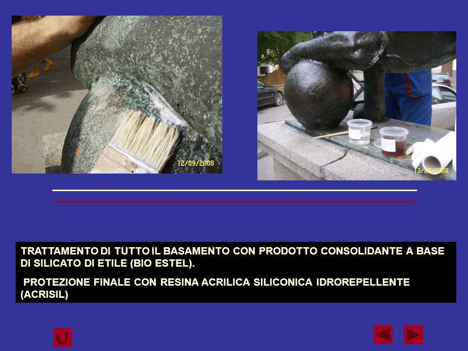 TRATTAMENTO DI TUTTO IL BASAMENTO CON PRODOTTO CONSOLIDANTE A BASE DI SILICATO DI ETILE (BIO ESTEL).
