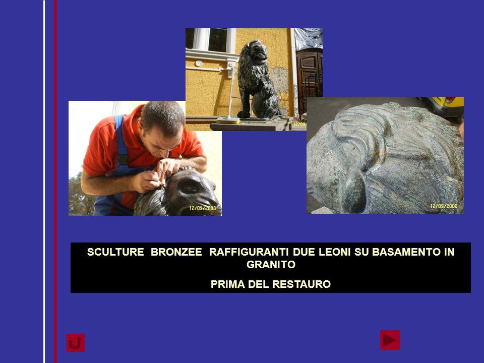 SCULTURE BRONZEE RAFFIGURANTI DUE LEONI SU BASAMENTO IN GRANITO