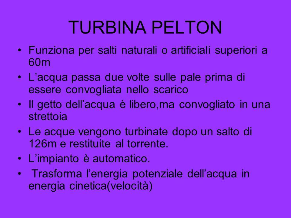 TURBINA PELTON Funziona per salti naturali o artificiali superiori a 60m.