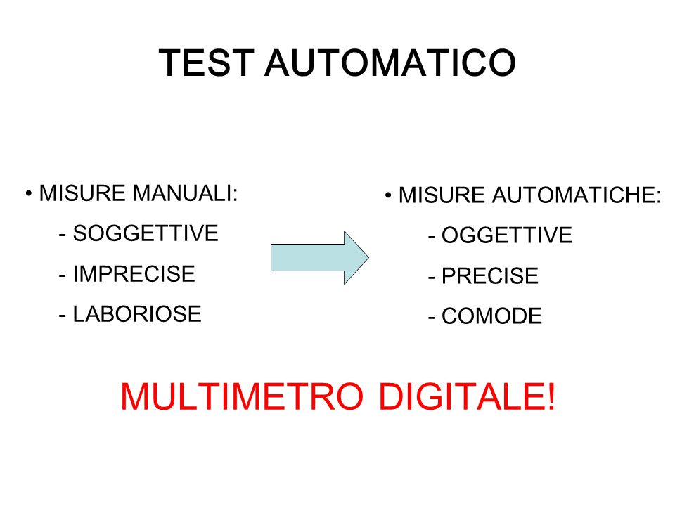 TEST AUTOMATICO MULTIMETRO DIGITALE! MISURE MANUALI: