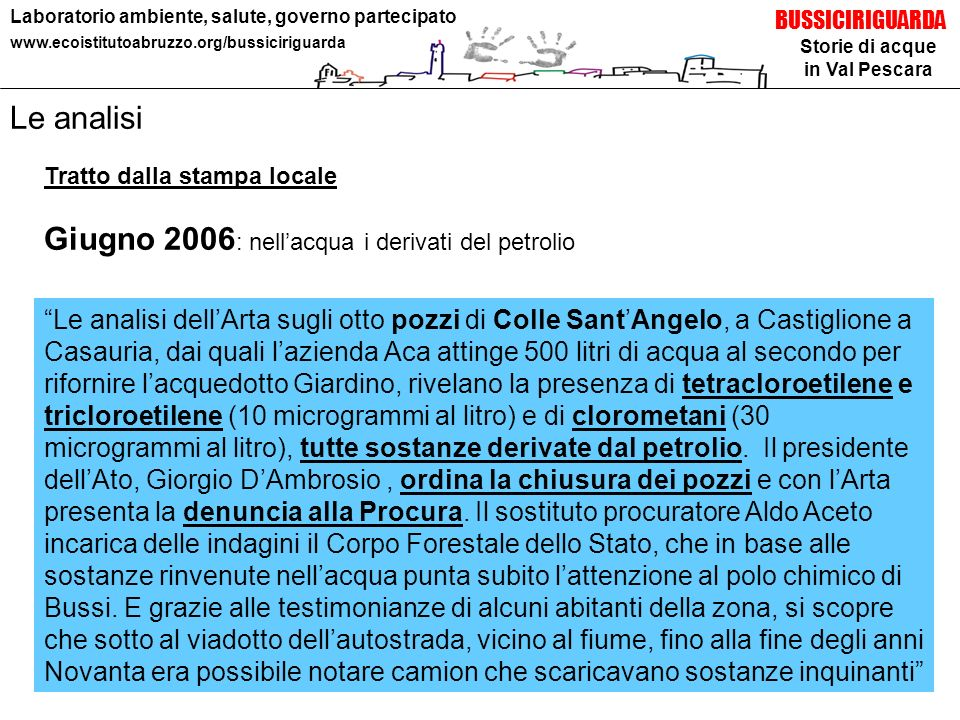 Giugno 2006: nell'acqua i derivati del petrolio