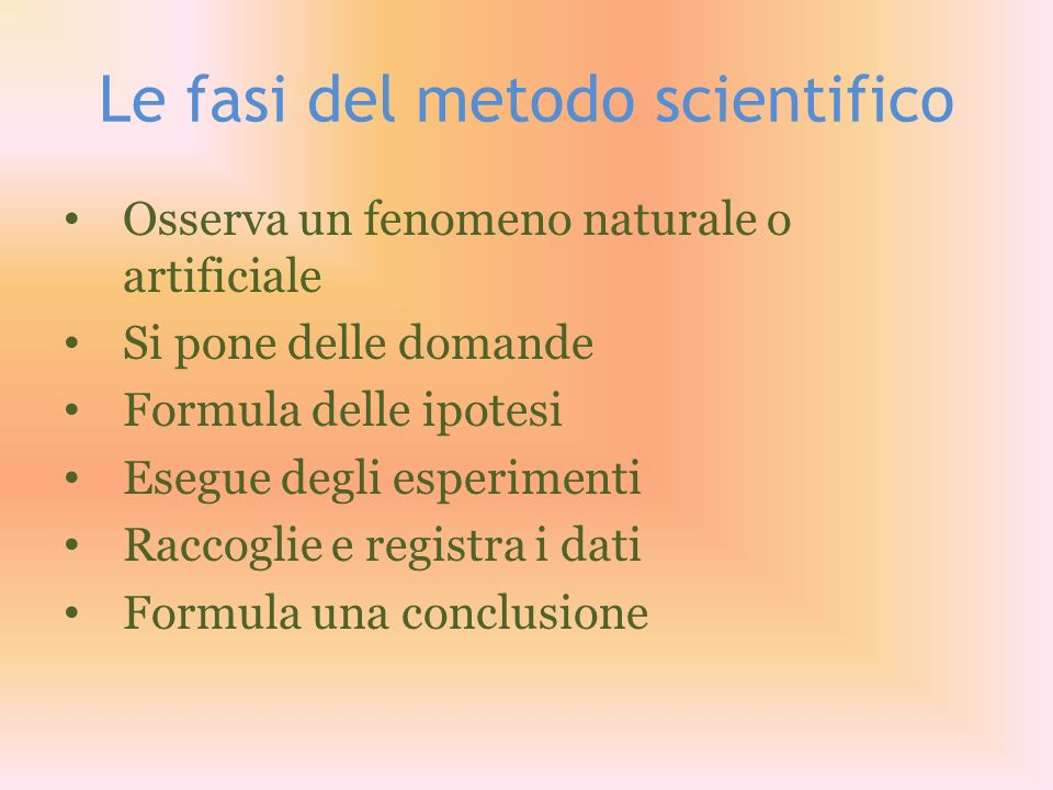 Le fasi del metodo scientifico