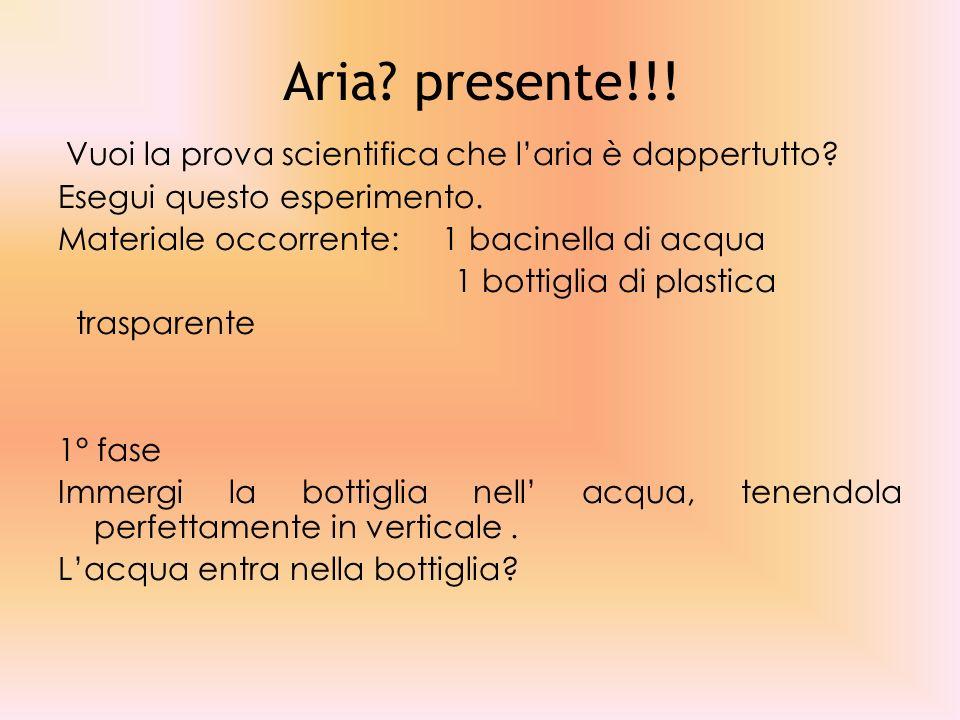 Aria presente!!! Vuoi la prova scientifica che l'aria è dappertutto