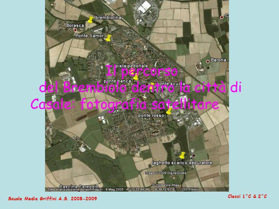 del Brembiolo dentro la città di Casale: fotografia satellitare