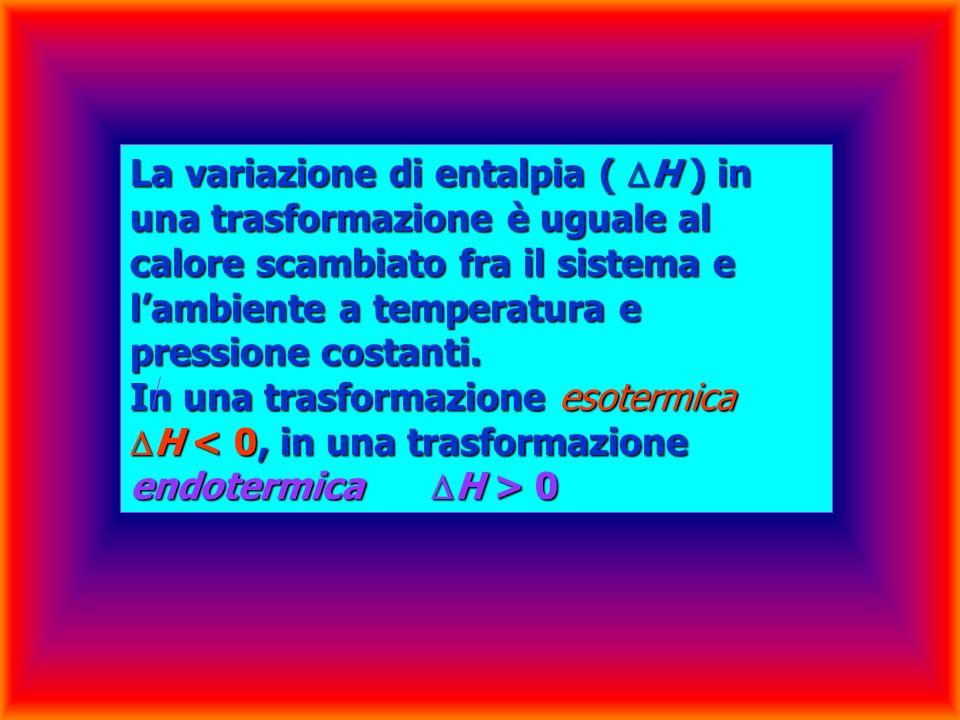 La variazione di entalpia ( H ) in una trasformazione è uguale al calore scambiato fra il sistema e l'ambiente a temperatura e pressione costanti.