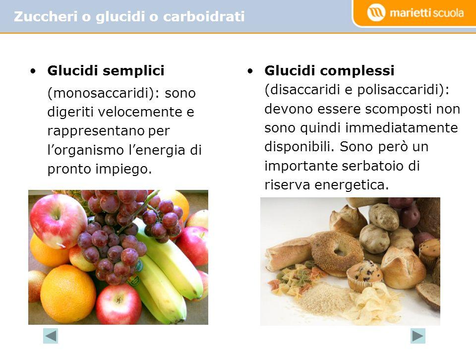 Zuccheri o glucidi o carboidrati