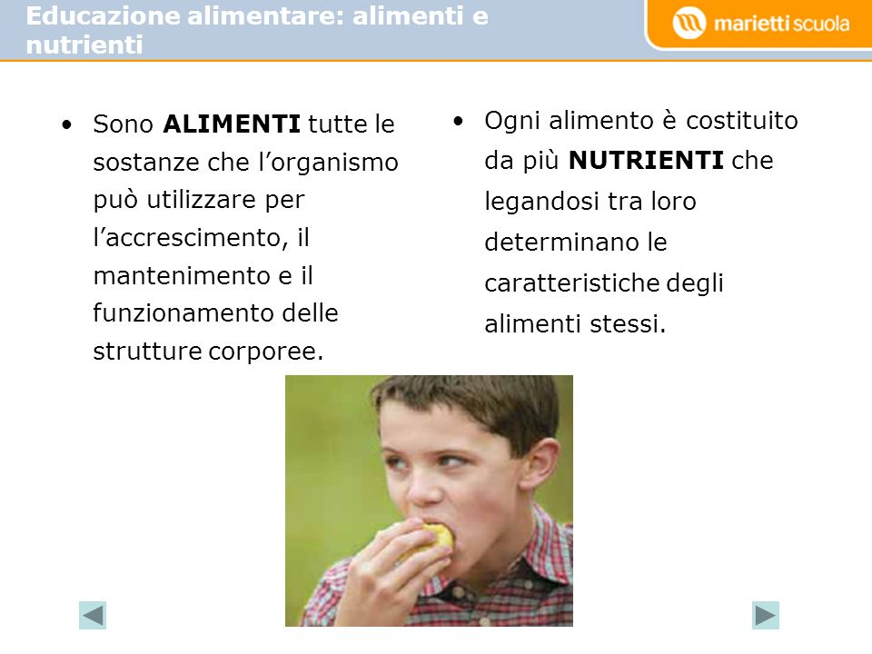 Educazione alimentare: alimenti e nutrienti