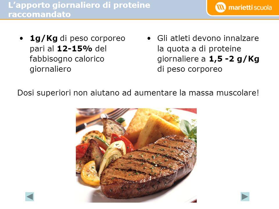 L'apporto giornaliero di proteine raccomandato