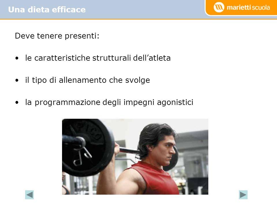 Una dieta efficace Deve tenere presenti: le caratteristiche strutturali dell'atleta. il tipo di allenamento che svolge.