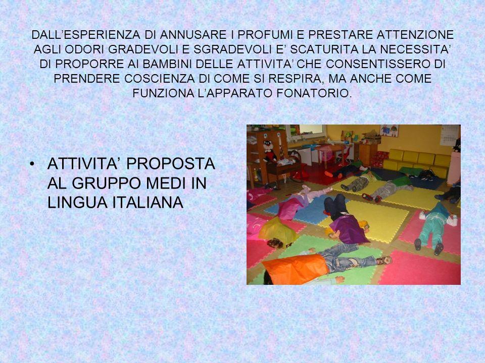 ATTIVITA' PROPOSTA AL GRUPPO MEDI IN LINGUA ITALIANA