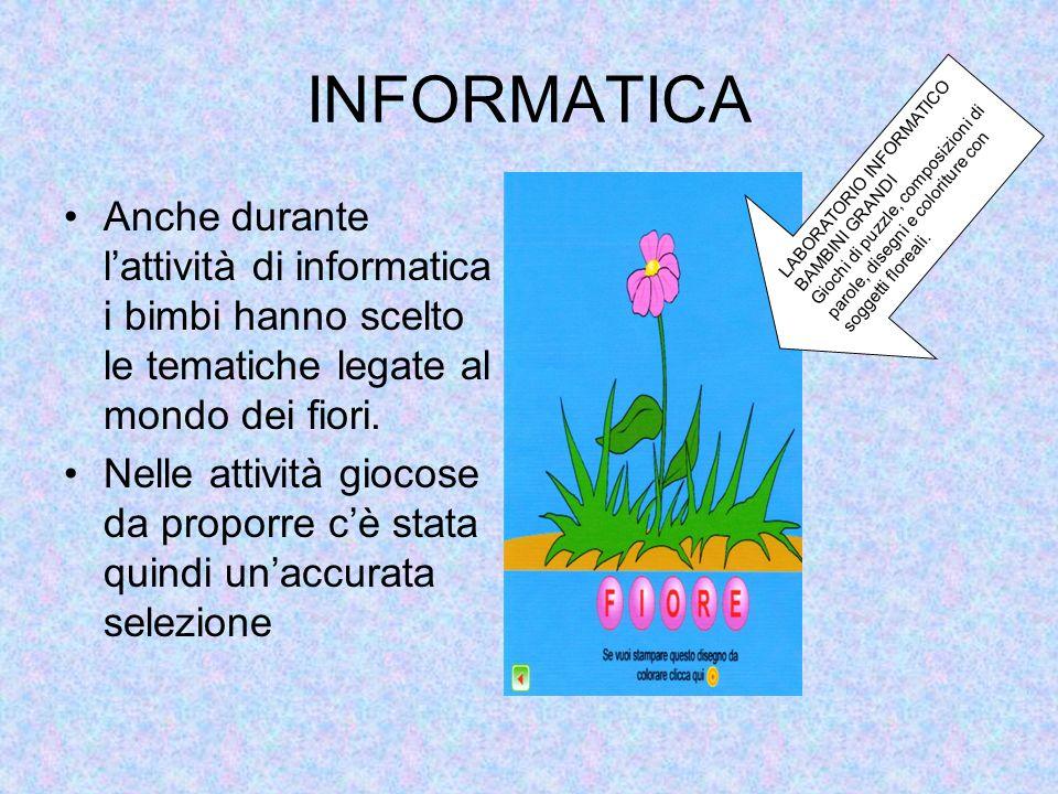 INFORMATICA LABORATORIO INFORMATICO BAMBINI GRANDI. Giochi di puzzle, composizioni di parole, disegni e coloriture con soggetti floreali.