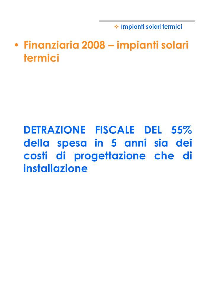 Finanziaria 2008 – impianti solari termici