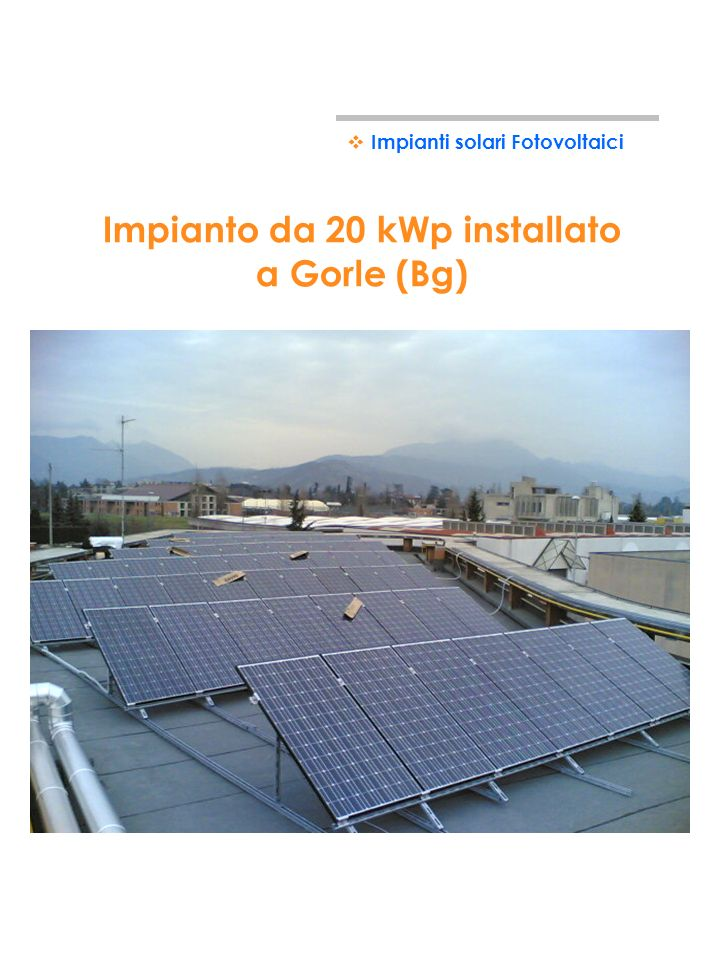 Impianto da 20 kWp installato a Gorle (Bg)