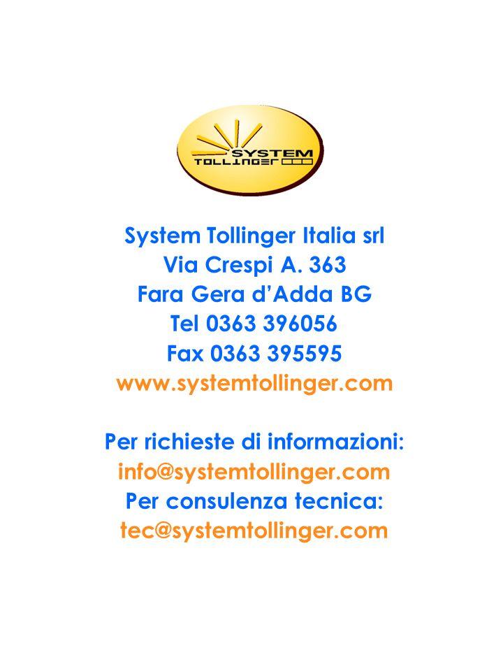 System Tollinger Italia srl Via Crespi A. 363 Fara Gera d'Adda BG