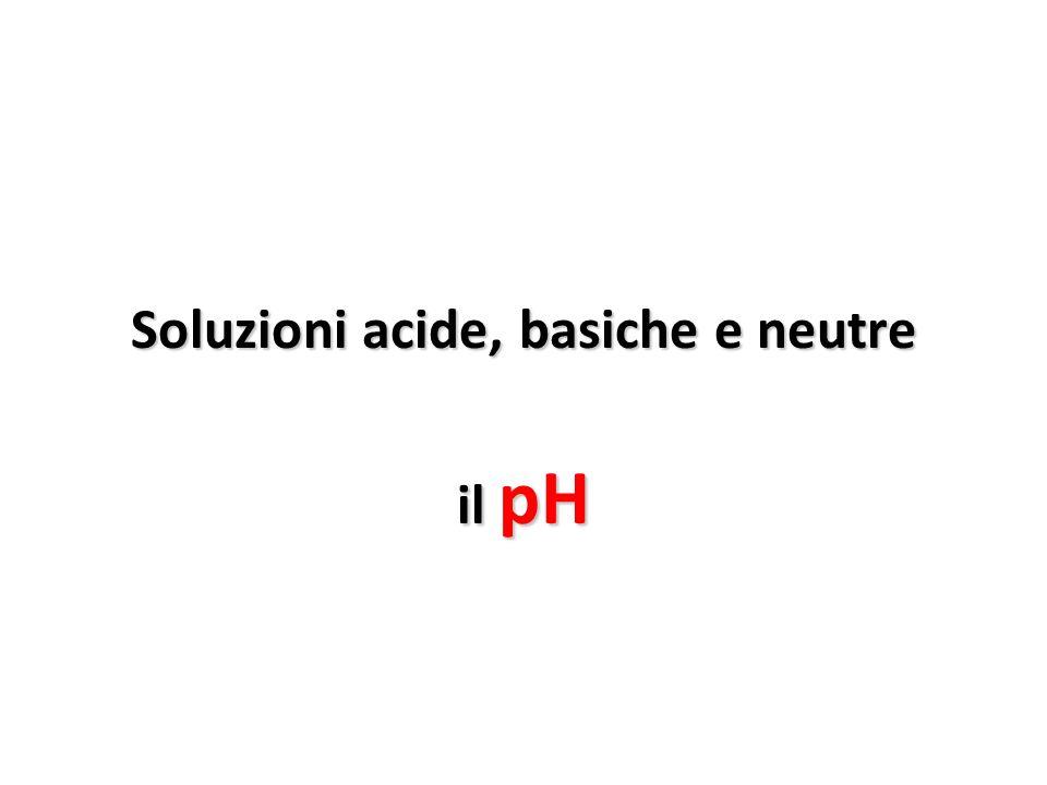 Soluzioni acide, basiche e neutre