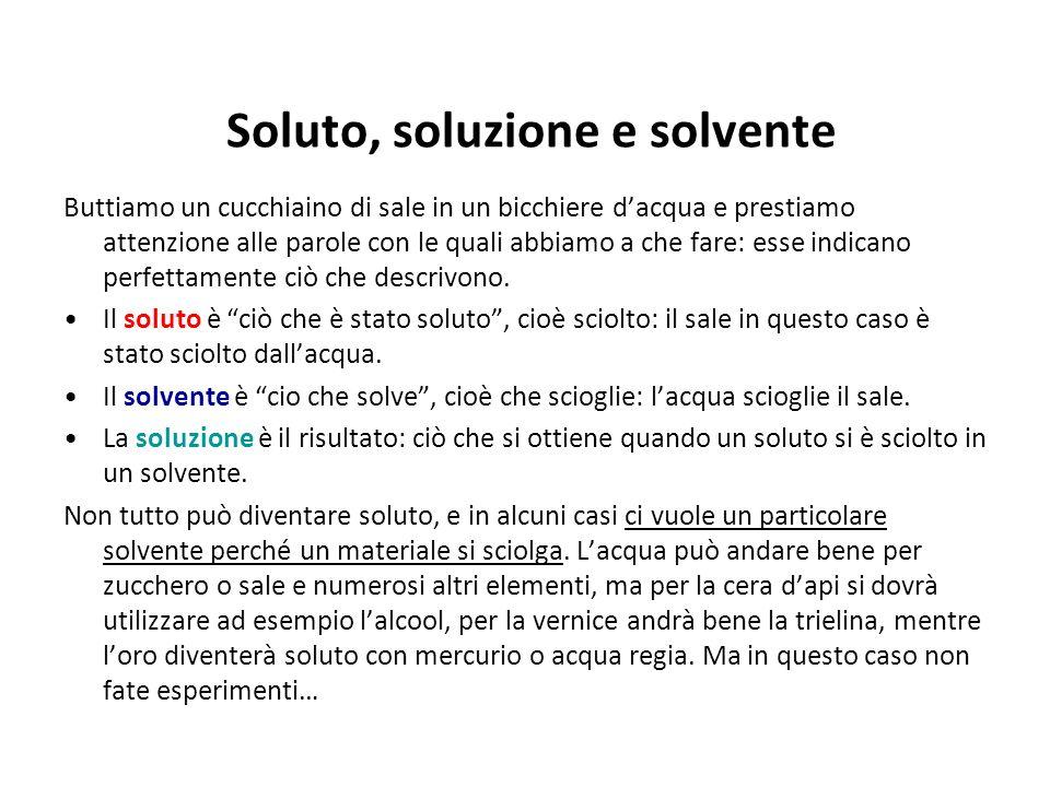Soluto, soluzione e solvente