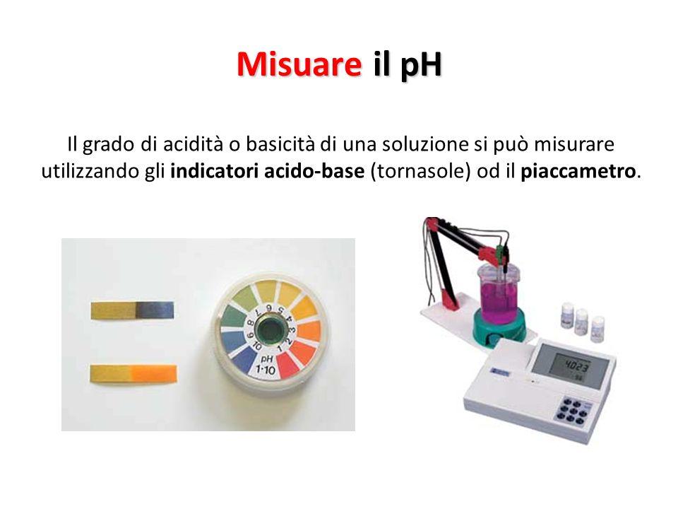 Misuare il pH Il grado di acidità o basicità di una soluzione si può misurare utilizzando gli indicatori acido-base (tornasole) od il piaccametro.
