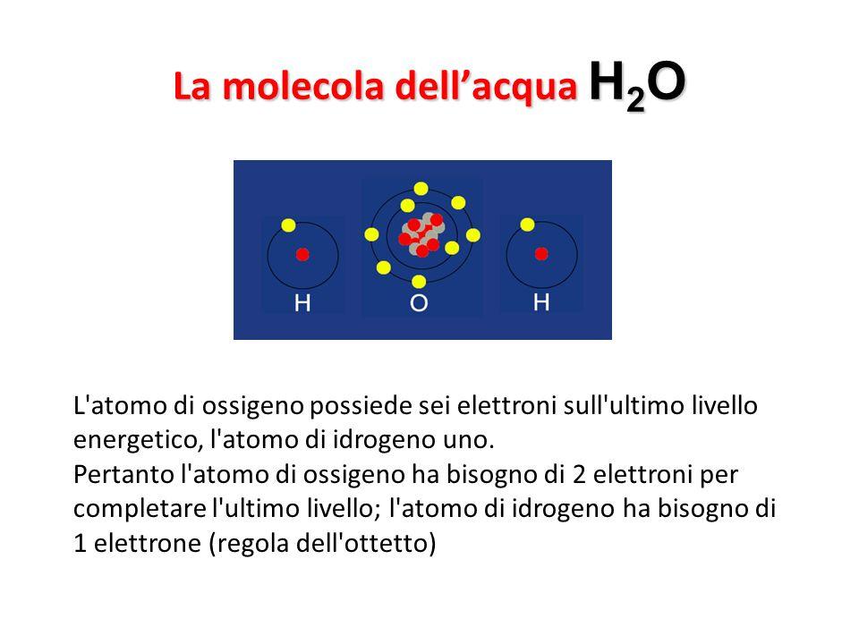 La molecola dell'acqua H2O