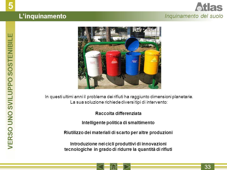 5 L'inquinamento VERSO UNO SVILUPPO SOSTENIBILE Inquinamento del suolo