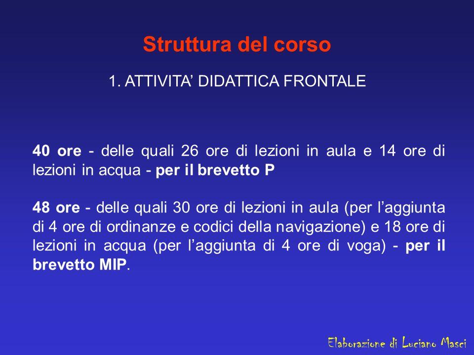 Struttura del corso 1. ATTIVITA' DIDATTICA FRONTALE