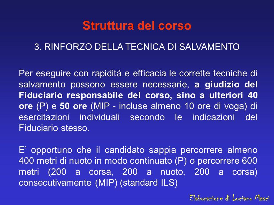 Struttura del corso 3. RINFORZO DELLA TECNICA DI SALVAMENTO